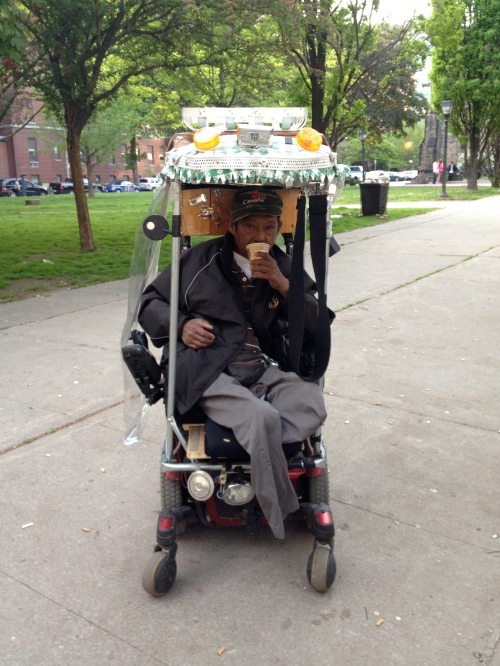 Mario has the sweetest ride! He's personalized his motorized wheelchair to meet all his needs - lights, cup holder, roof rack (!), lockable storage cupboard and rain flaps.